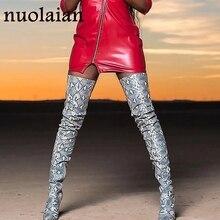 Женская обувь на каблуке 11 см; модельные Зимние Сапоги выше колена; женские кожаные сапоги; женские облегающие высокие сапоги; женская обувь; зимняя обувь