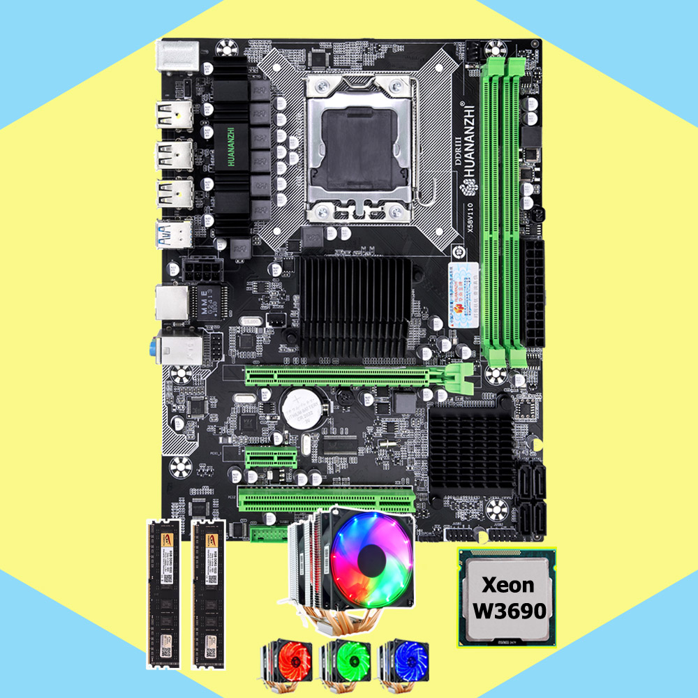 HUANANZHI X58 Pro motherboard bundle X58 LGA1366 motherboard with CPU Intel Xeon W3690 3.46GHz 6 heatpipes cooler RAM 16G(2*8G) image