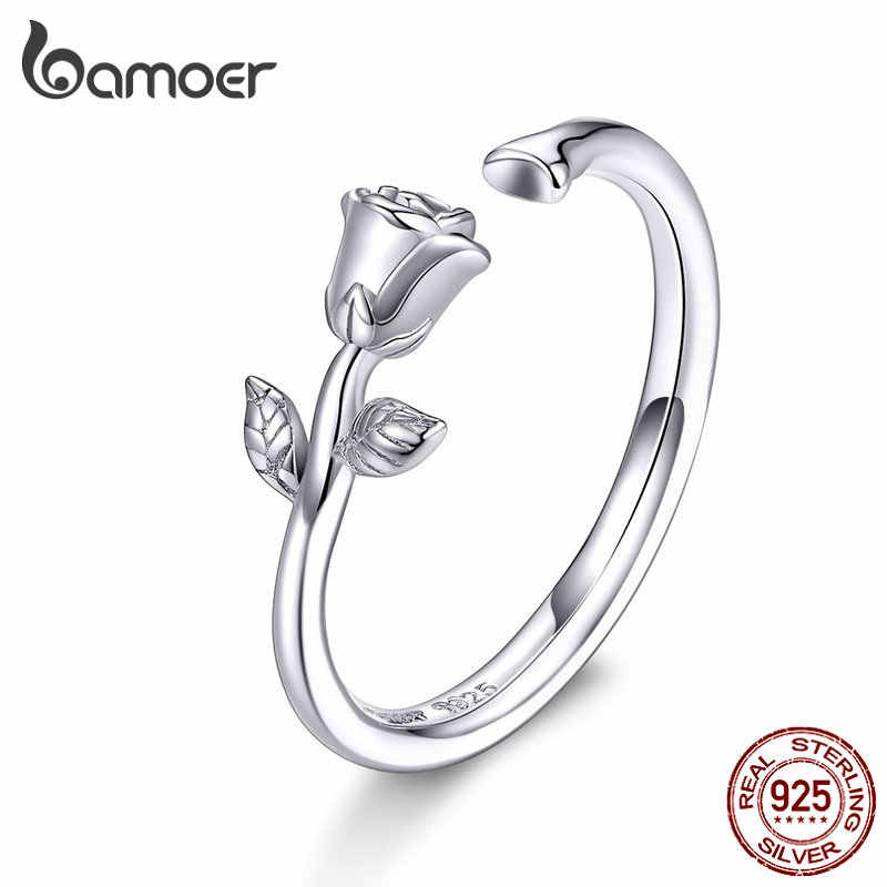 bamoer Thorns and Rose Open Adjustable Finger Rings for Women 3D Flower Ring Band 925 Sterling Silver Jewelry Korean BSR065