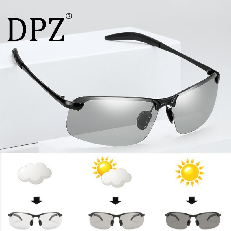 DPZ Polarized Square Aviation Style Sunglasses Driving Vintage Brand Design Discoloration Sun Glasses Oculos De Sol Masculino