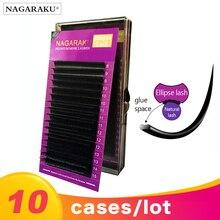 NAGARAKU 10 étuis BCD 16 rangées/plateau Ellipse cils maquillage Mix 8 ~ 15mm plat vison cils cils Faux vison brillant doux naturel