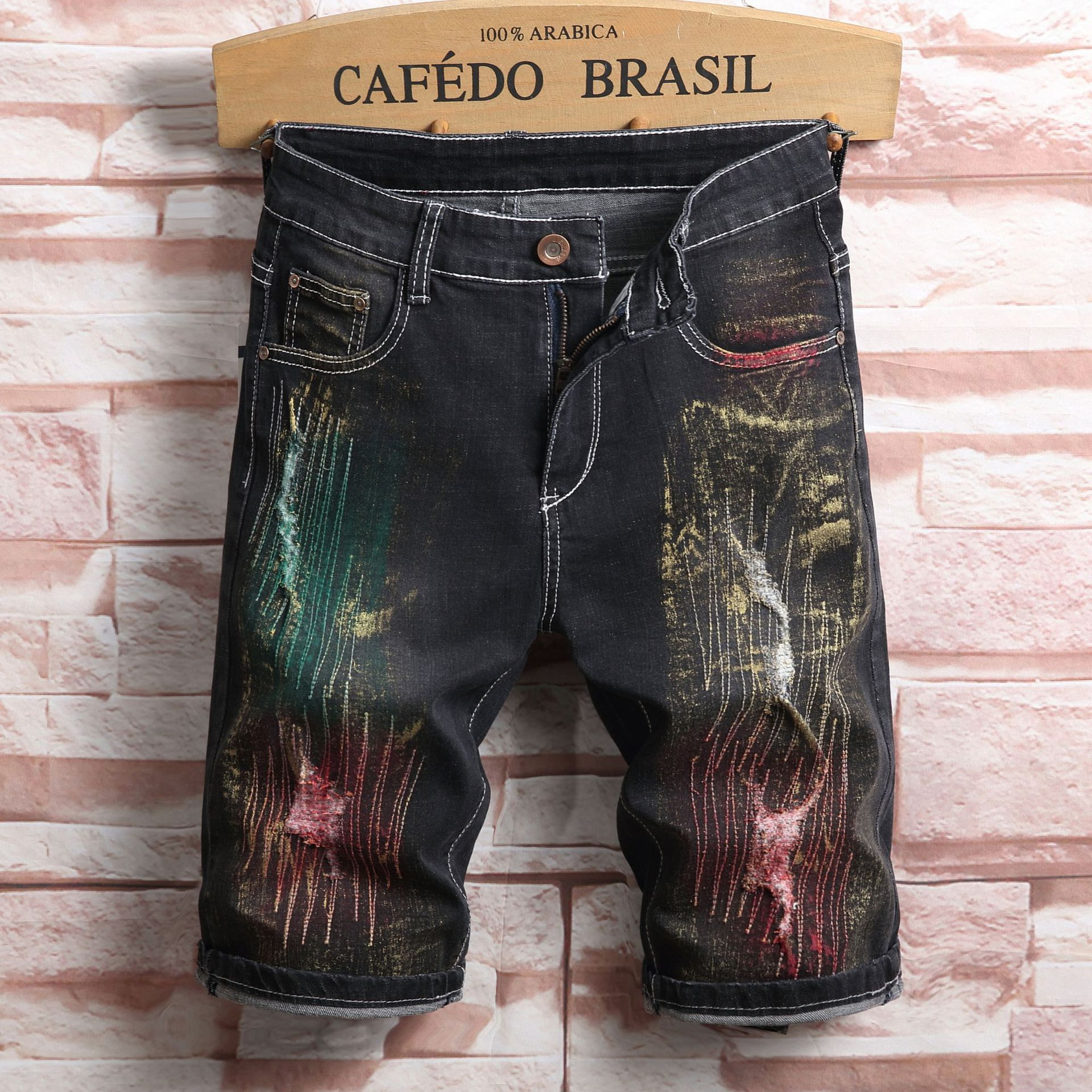 Summer New Style Denim Shorts Slim Fit Straight-Cut With Holes Retro Coloured Drawing Shorts A Generation Of Fat
