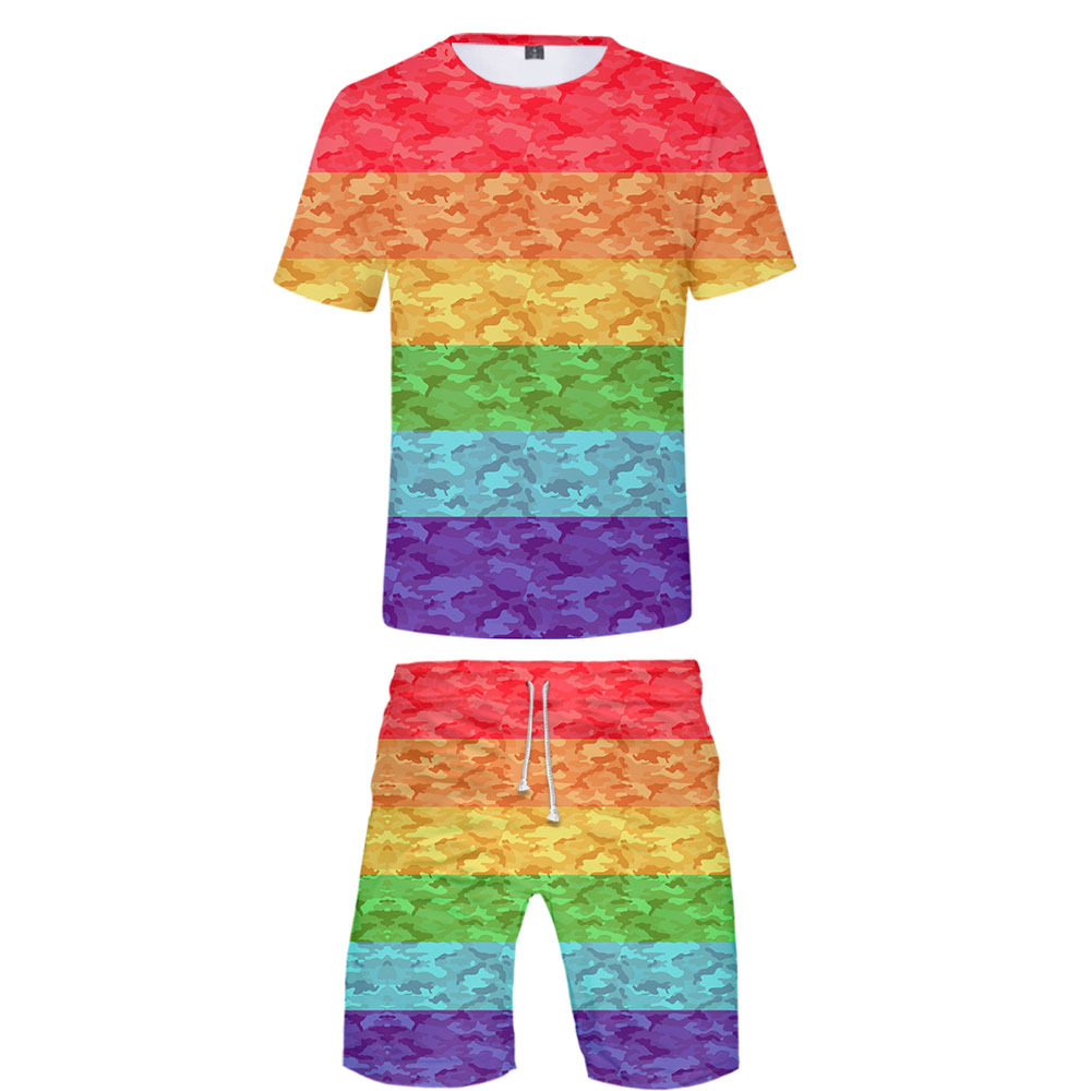 2019 New Style LGBT Homosexual 3D Short Sleeved Shorts Suit + Childrenswear Clothes Men's Summer Fashion