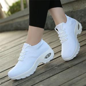 Image 4 - MWY Flying Woven Wedges Casual Shoes Women High Heel Sneakers Women Platform Shoes Zapatilla De Mujer Outdoor Walking Shoes