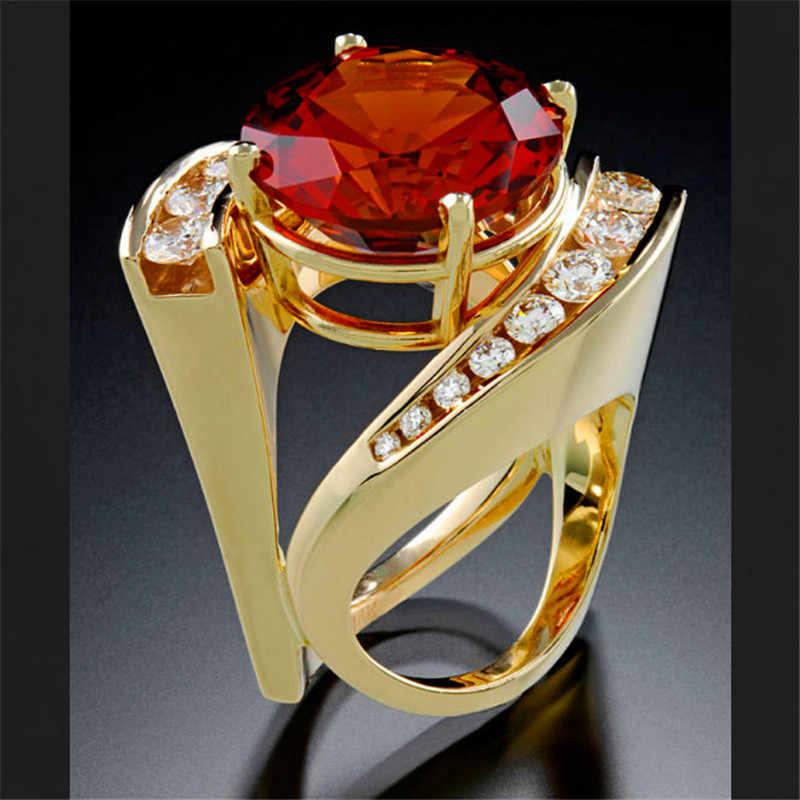 ヴィンテージ女性レディースクリスタルブルーグリーンストーンリングファッションイエローゴールド指リング約束の婚約指輪