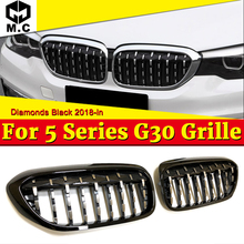 G30 Diamonds Grill Grille Fit For BMW 5 series 520i 530i 540iXD Look Front Kidney Grille ABS Gloss Black Auto Car styling 18-in стоимость