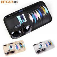 Car CD DVD Holder Disc PU Leather Storage Media Case Sunglasses Card Organizer Sun Visor Sunshade Sleeve Wallet Clips