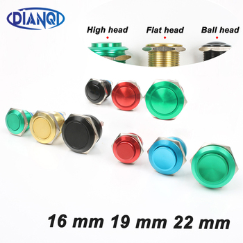 16mm/19mm/22mm Metal Oxidized Push Button Switch 1NO reset press button screw terminal momentary red black blue Gold Green 5pcs lot black red green yellow blue 12mm waterproof momentary push button switch ve059 p40