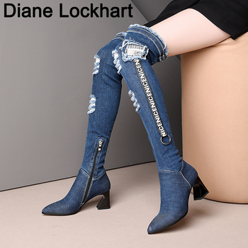 big size 42 43 women denim boots slip on Cowgirl Over knee boots cowboy chunky heels shoes Female botas mujer zapatos chaussure