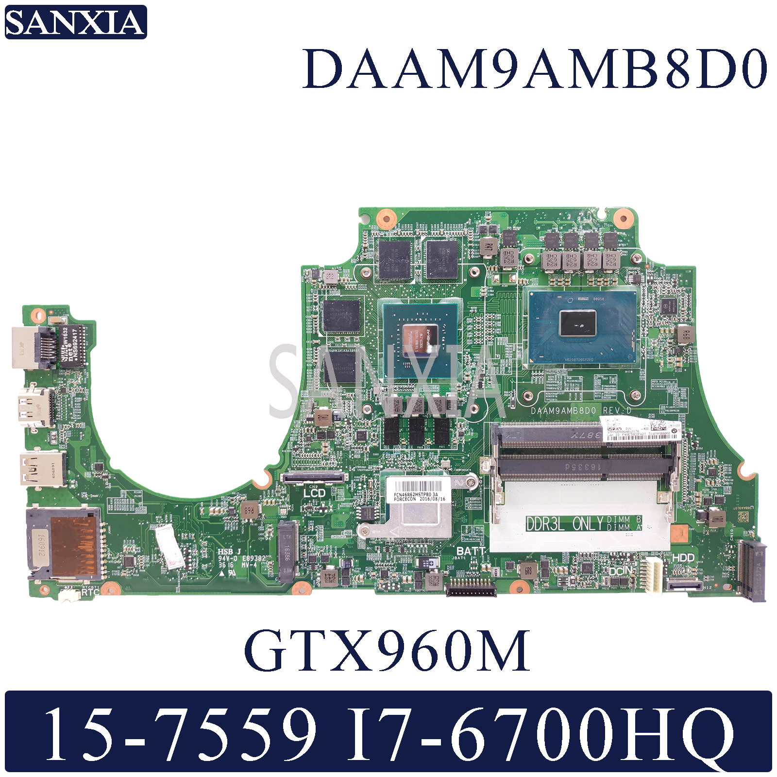 KEFU DAAM9AMB8D0 Laptop Motherboard For Dell Inspiron 15-7559 Original Mainboard I7-6700HQ GTX960M-4GB