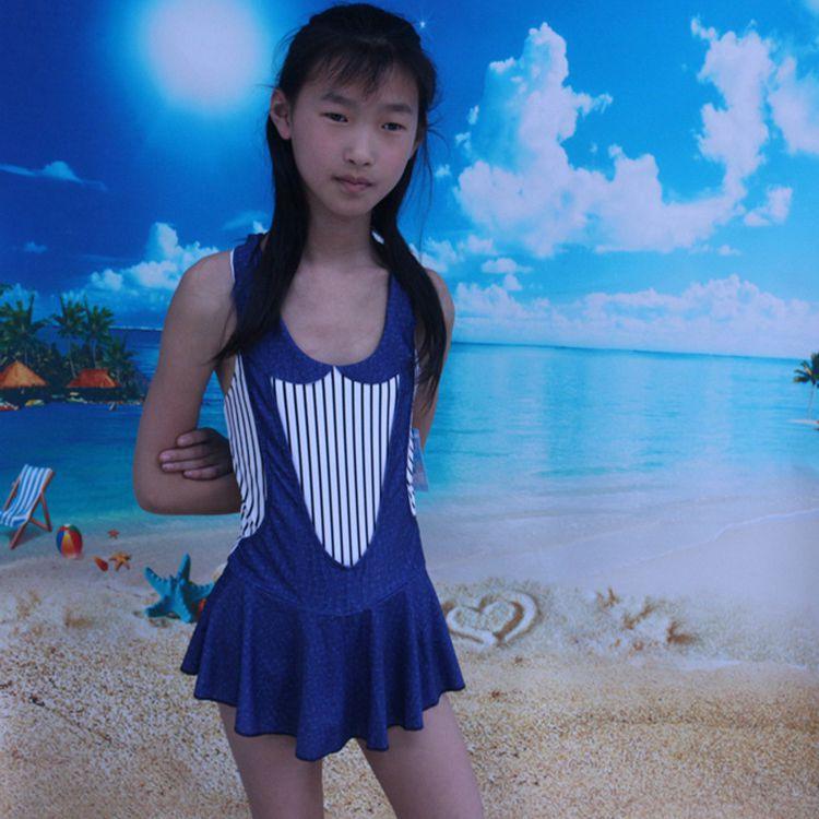 Children Navy Style Tour Bathing Suit Big Boy Bathing Suit GIRL'S One-piece Swimming Suit Girls Strap Bathing Suit