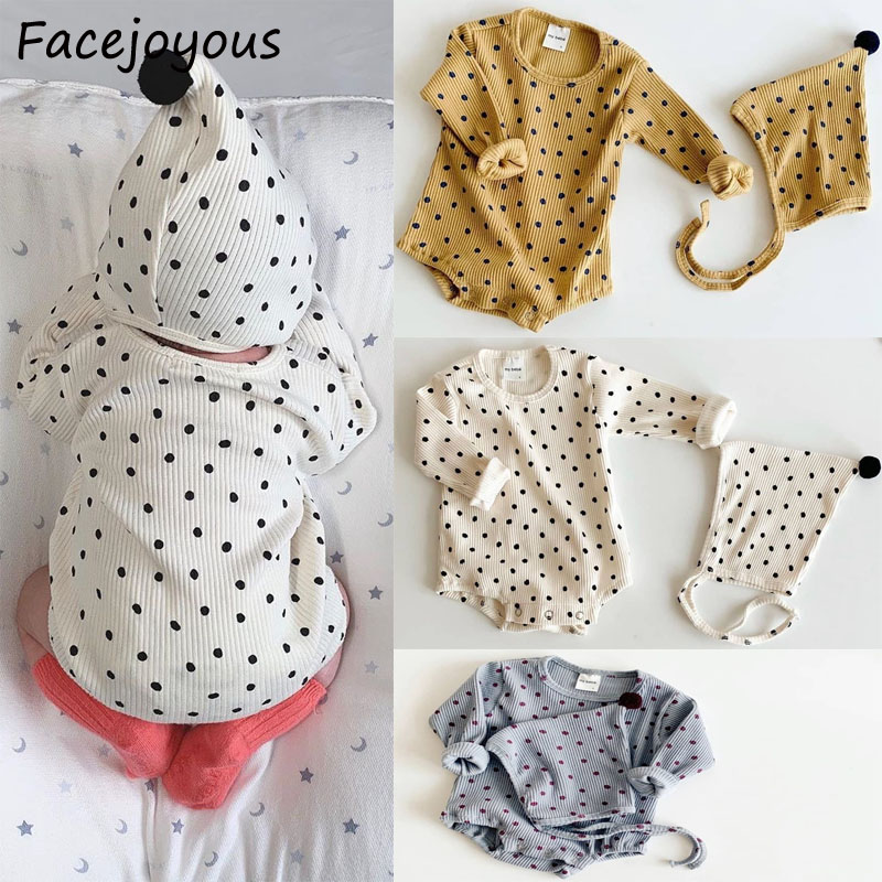 Ribbed Baby Clothing Girl Romper Baby Polka Dot Clothes Newborn Long Sleeve Boys Jumpsuit Baby Girl Rompers Kids Onesie Costume