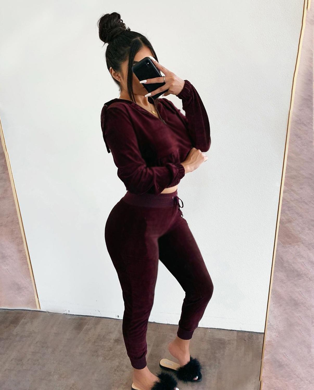 Echoine Velvet Zipper Crop Top And Pants Two Piece Set Skinny Sexy Tracksuit Women Sportwear Party Club Outfits Jogging Femme