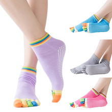 Chaussettes de Yoga anti-dérapant Pilates Barre Grip chaussettes orteil coton mme hommes doigt Yoga chaussettes vêtements de sport accessoires