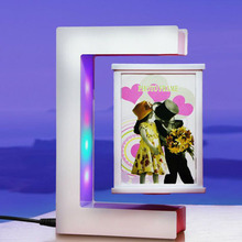 Magnetic Levitation Rotating Triangular Prism Picture Frame with Colorful LED Lights Floating Photo for birthday gifts