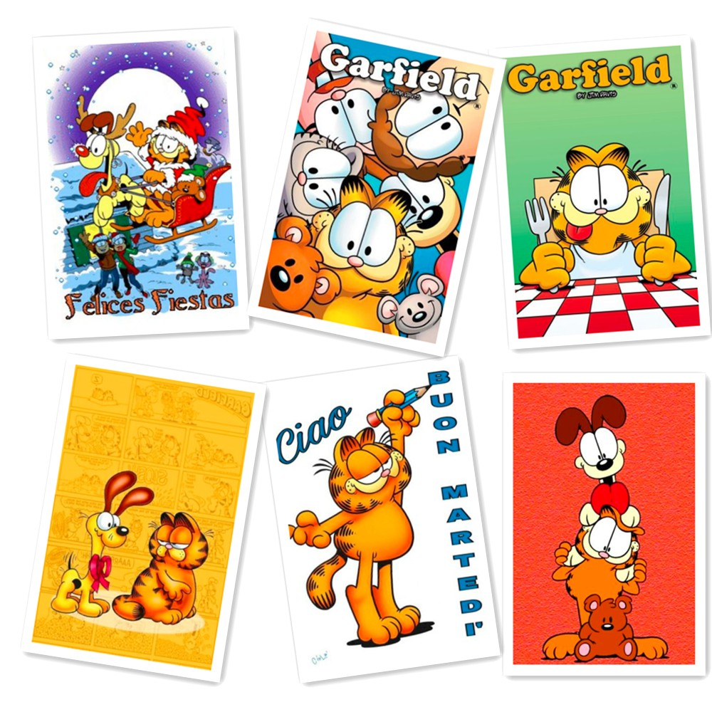 6 Pcs/set Anime Greeting Cards Collector Garfield Postcards Cartoon Card Carte Postale Office School Supplies 10x14cm