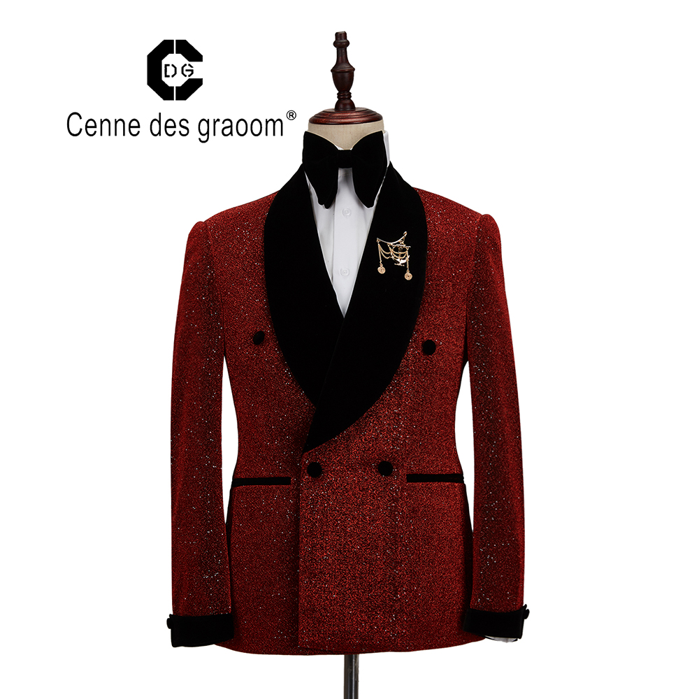 2020 Cenne Des Graoom New Men Suit Tuxedo Two Pieces Double Breasted Shawl Lapel Wedding Party Singer Costume Groom Christmas