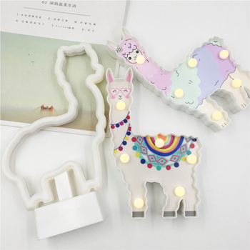 Cartoon Alpaca LED Night Light Battery Power Home Table Lamp 3D Cute Lama Alpacos Gifts For Kids New Year Gift Party Lighting