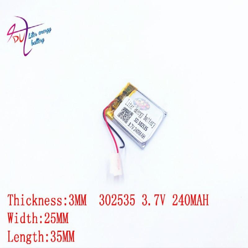 Liter Energy Battery Lithium Battery 302535 3.7V 240MAH 032535 MP3 MP4 Bluetooth Speaker Battery Eye Massager Battery
