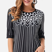 Women O Neck Print Stripe Half Sleeve Tunic Blouse Female Black Loose Tunics Tops 2020 New Ladies Casual Summer Blouse Blusas