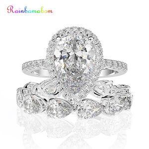 Image 1 - Juegos de anillos de compromiso con piedras preciosas de molissanita, pera de plata esterlina sólida 925, banda de boda, joyería fina, venta al por mayor