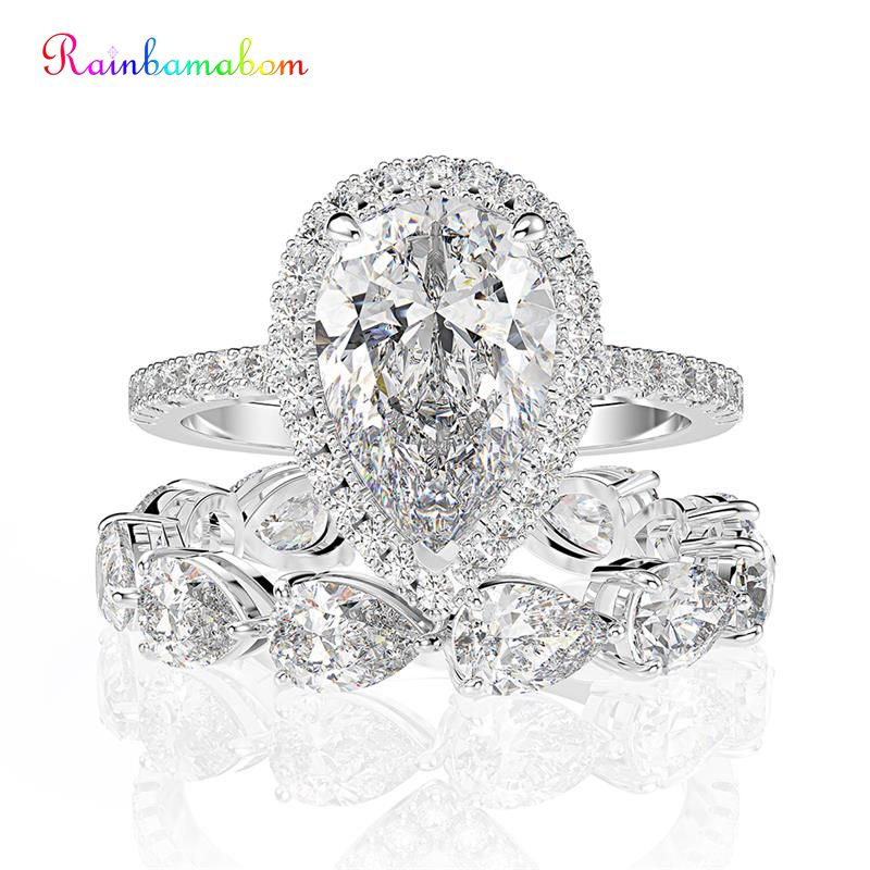 Rainbamabom 925 Solid Sterling Silver Pear Created Moissanite Gemstone Engagement Ring Sets Wedding Band Fine Jewelry Wholesale
