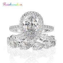 Rainbamabom 925 sólida prata esterlina pêra criado moissanite pedra preciosa conjuntos de anel de noivado banda casamento jóias finas por atacado