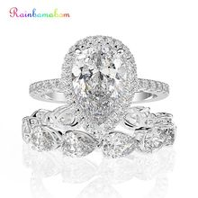 Rainbamabom 925 固体スターリングシルバー梨作成モアッサナイト宝石用原石の婚約リングセット結婚指輪ファインジュエリー卸売