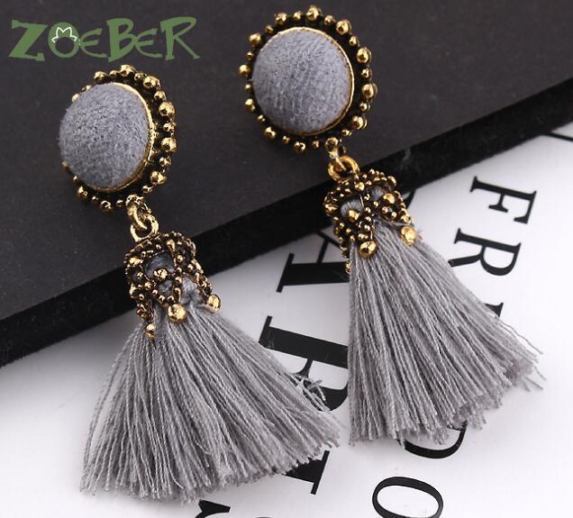 Small Tassel Earrings for Women Fashion Jewelry Bohemian Ball Statement Face Fringed Tiny Drop Earring Female Jewellery Gift