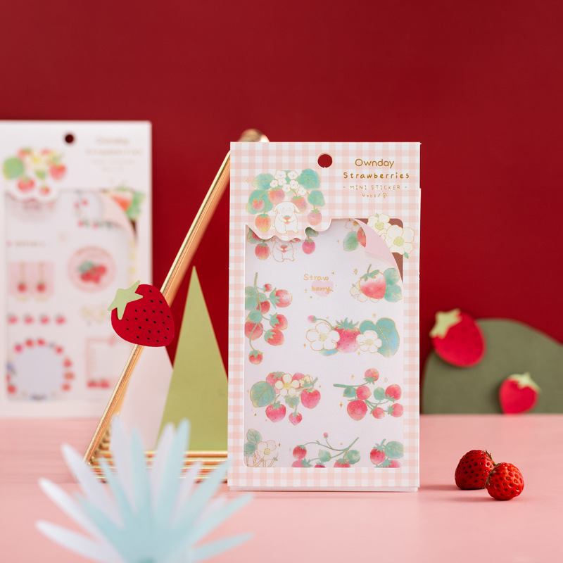 4 Pcs/set INS Sweet Strawberry Gold Foil Washi Paper Stickers Scrapbooking DIY Bullet Journal Diary Stationery Stickers Office