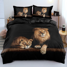 3D Lion Quilt Cover Sets Black Linens Bed Pillow Shams King Queen Super King Twin Double Full Size 180*200cm Animal Home Textile