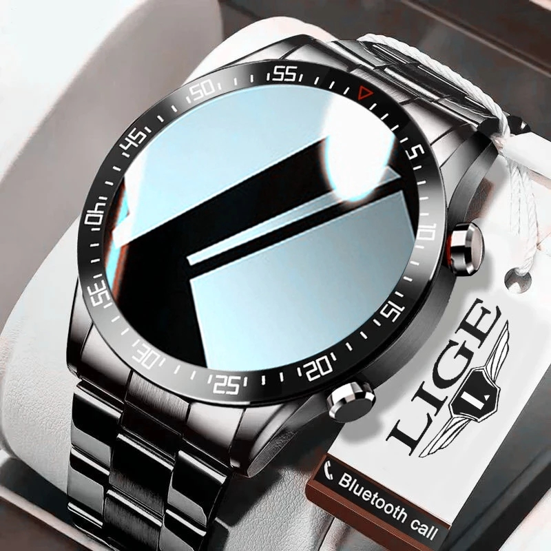 LIGE 2020 fashion Full circle touch screen Mens Smart Watches IP68 Waterproof Sports Fitness Watch Luxury Smart Watch for men|Smart Watches| - AliExpress