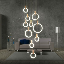 Moderne Led Cirkel Grote Kroonluchter Woonkamer Art Deco Restaurant Opknoping Verlichting Voor Hotel Lobby Kantoor Ringen Lamp Lustre