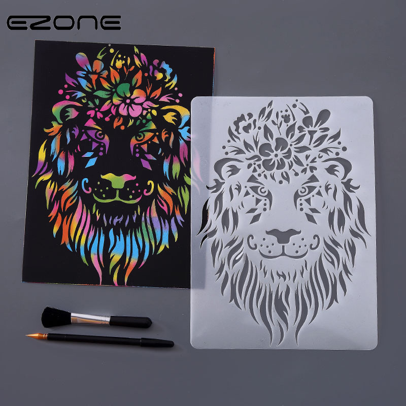 EZONE 1PC Animals Drawing Template Ruler Animals Hollow Out Template Stationery Drawing Figure Ruler Painting With Scratch Paper