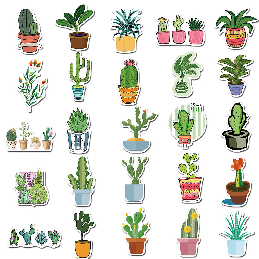 45 Pcs/pack Green Potted Plant Decorative Washi Stickers Scrapbooking Stick Label Diary Stationery Album Stickers
