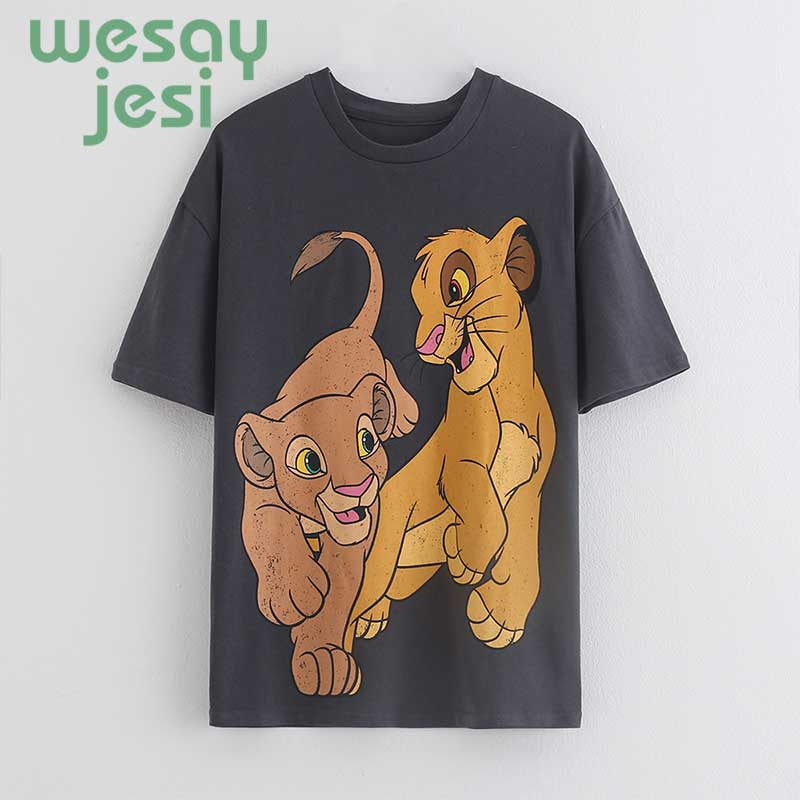 2019 T-Shirt Women England Style Casual Cotton O-neck T-Shirt Little Lion Printing Cotton Summer T-shirt Women Tops Plus Size