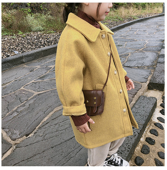 WLG Girls Thick Coats Kids Autumn Winter Velvet Yellow Pink Long Style Outerwear Baby Girl Fashion All Match Clothes 2-7 Years