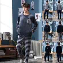Зимняя Теплая мужская пижама с длинным рукавом, Фланелевая пижама, набор для мужчин, одежда для сна, Повседневная Ночная рубашка, мужская пижама, костюм для сна
