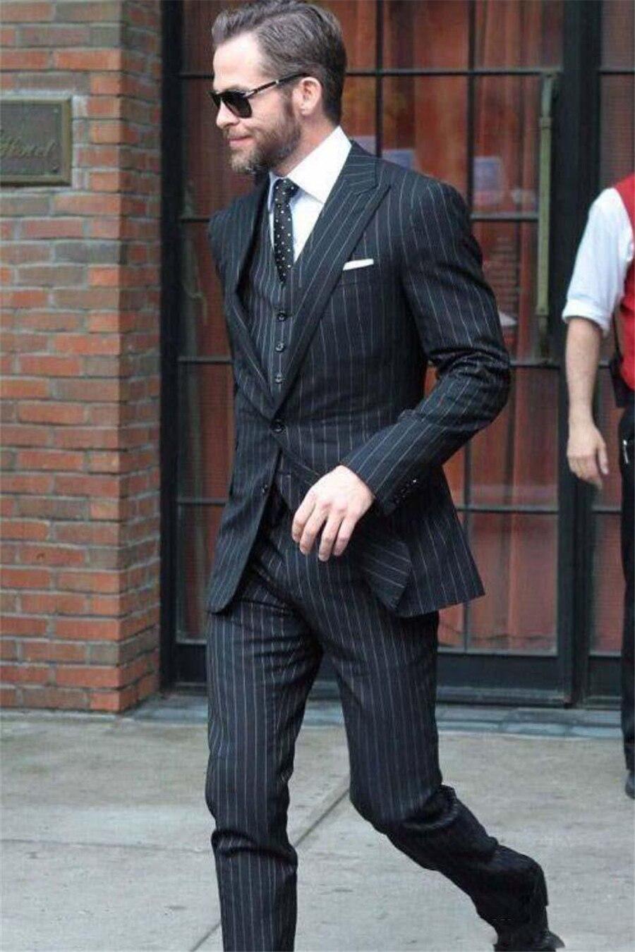 Elegant Groom Groomsmen Wedding Tuxedos Men Suits Black Strips Business Fitted Suit Custom Slim Prom Wear (Jacket+Vest+Pants)