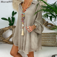 MoneRffi Plus Size Linen Shirt Women White Button Down Shirt for Women Long Sleeve Loose Casual Cott