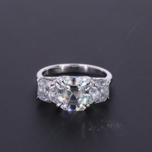 Starsgem 14K Gh US size 3.5 8*8mm main stone and 5*5mm Asscher side stone moissanite ring with 1pcs oval cut 8*10mm corundum