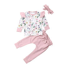 Baby Clothing Cute Sweet Infant Baby Girl Floral Clothes Long Sleeve Flower Tops+Pants 3PCS Outfit Autumn Spring Suits(China)