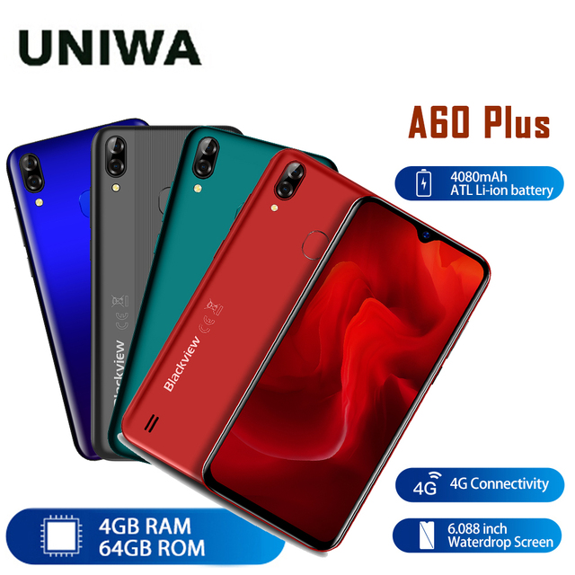 هاتف محمول الجيل الرابع يعمل بنظام الأندرويد 10 4080mAh الهاتف المحمول Blackview A60 Plus الهاتف الذكي رباعي النواة 4GB + 64GB Waterdrop شاشة التعرف على الوجه