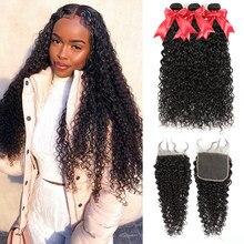 Пряди волнистых волос FDX с закрытием, бразильские волнистые пряди волос 30 32 34 дюйма, пряди человеческих волос Remy 6x6, с пряди