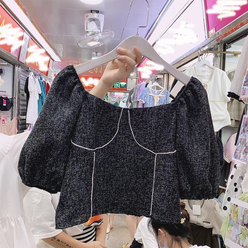 Freoff-Shoulder Square Collar Shirt Puff Sleeve Diamond Temperament Women's Short Blouse Pleated Slim Tops Blusas Femme