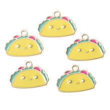 10PCS Cute Cartoon Charms Enamel Yellow Gold Color Pendant For Necklace Bracelet DIY Jewelry Making Findings free shipping 10pcs mixed random color alloy enamel trojans charms pendant for diy fashion jewelry findings