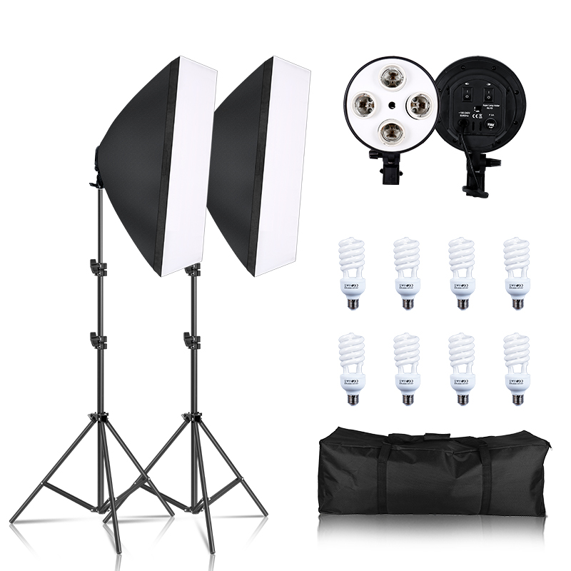 Photography Softbox Lighting Kit Four Lamp Soft Box E27 Holder With 8pcs Bulbs Light Stand For Photo Studio Video Accessories