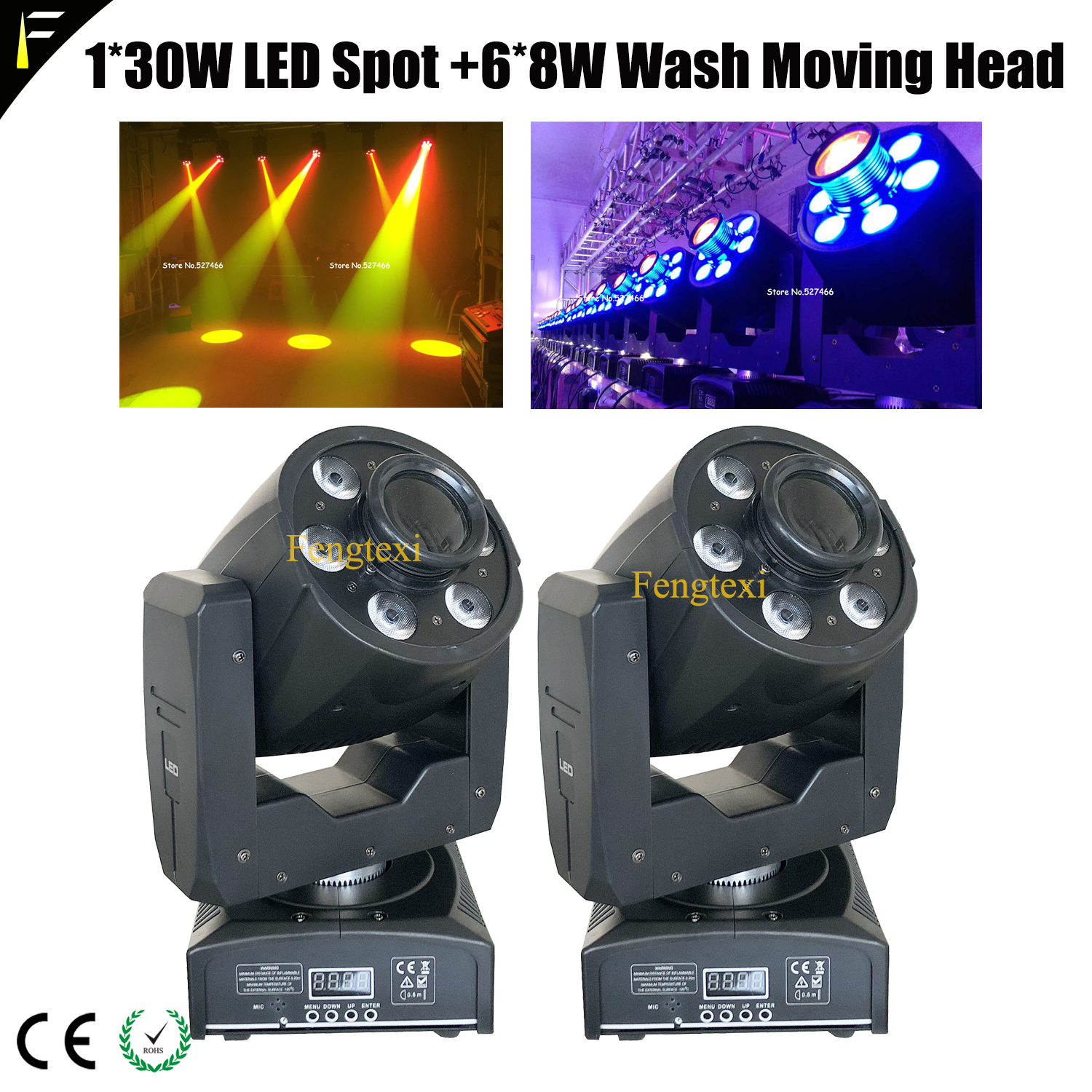 2*Portable Club Bar Stage LED Moving Head Multi Effect Spot Wash Beam Strobe Light Equipment With DMX512+Power Cable And Bracket