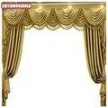 Пользовательские шторы роскошные высококачественные европейские для гостиной однотонные Золотые толстые драпированные Занавески Из иску...