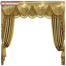 Cortinas personalizadas de luxo alta qualidade europeu sala estar quarto cortinas blackout cortina tule valance sólida ouro grosso cortina